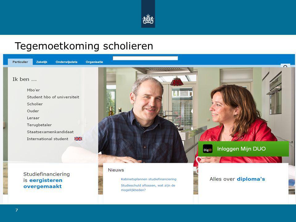 Aanvraagformulier via: duo.nl
