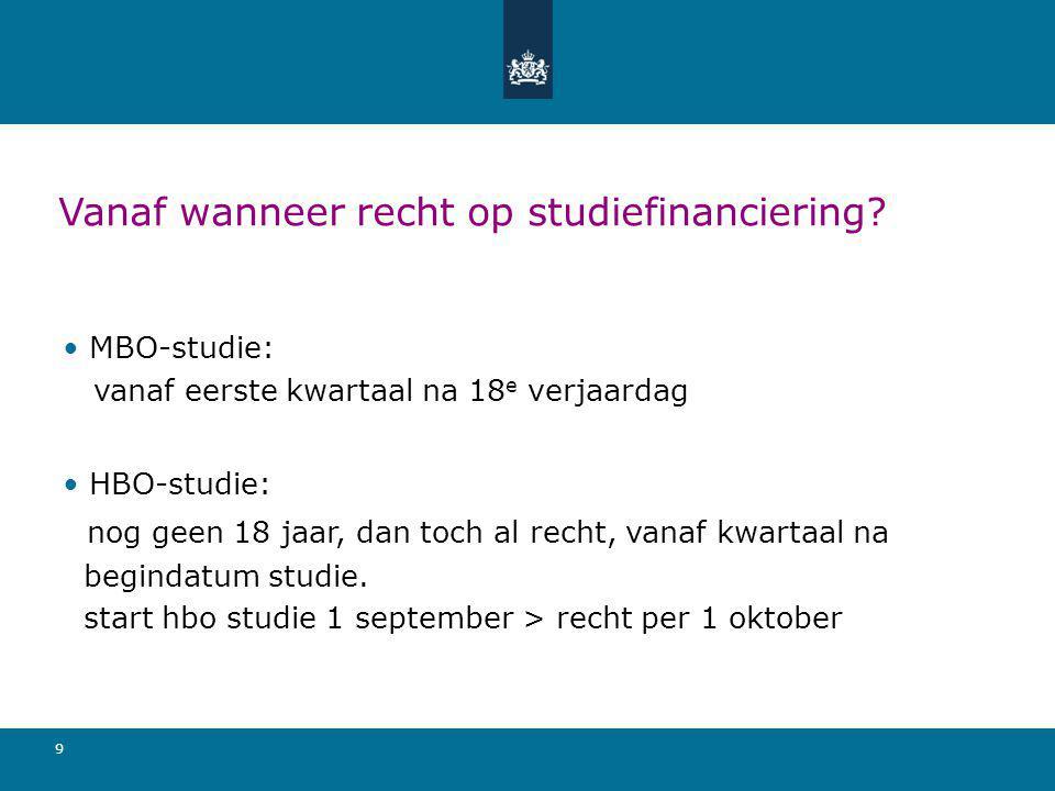 Vanaf wanneer recht op studiefinanciering
