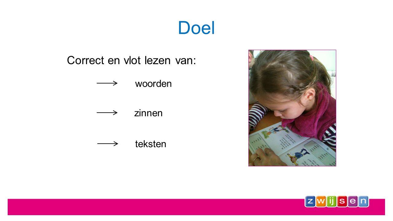 Doel Correct en vlot lezen van: woorden zinnen teksten