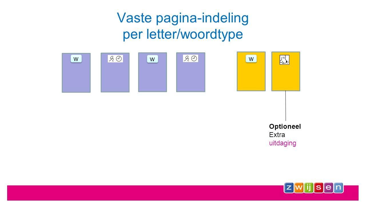 Vaste pagina-indeling per letter/woordtype