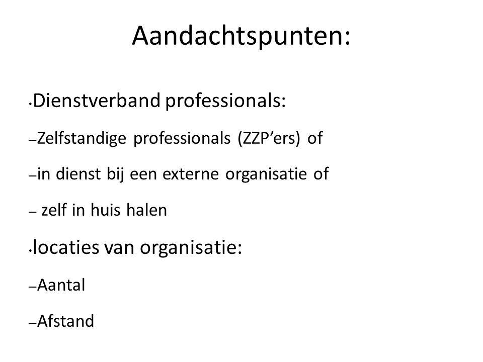 Aandachtspunten: Dienstverband professionals: