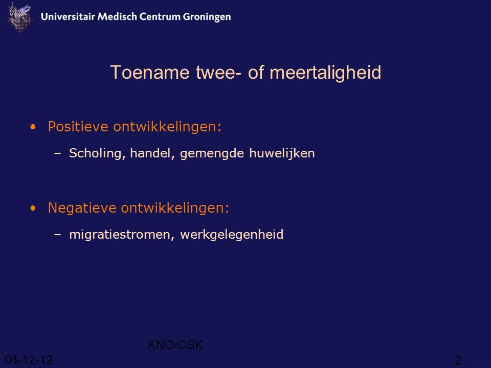 Toename twee- of meertaligheid