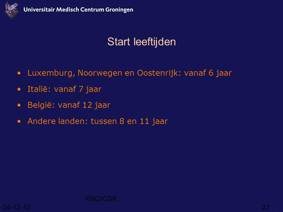 Start leeftijden Luxemburg, Noorwegen en Oostenrijk: vanaf 6 jaar