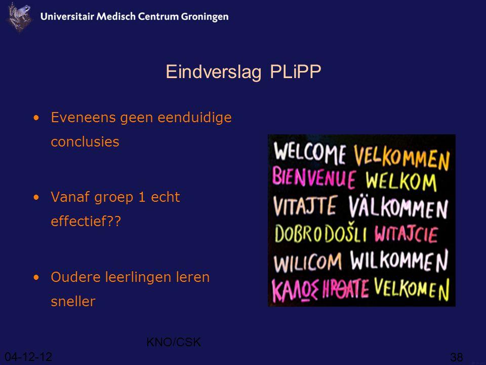 Eindverslag PLiPP Eveneens geen eenduidige conclusies