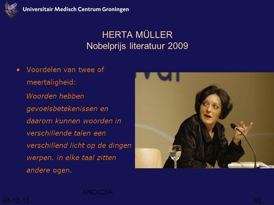 HERTA MÜLLER Nobelprijs literatuur 2009