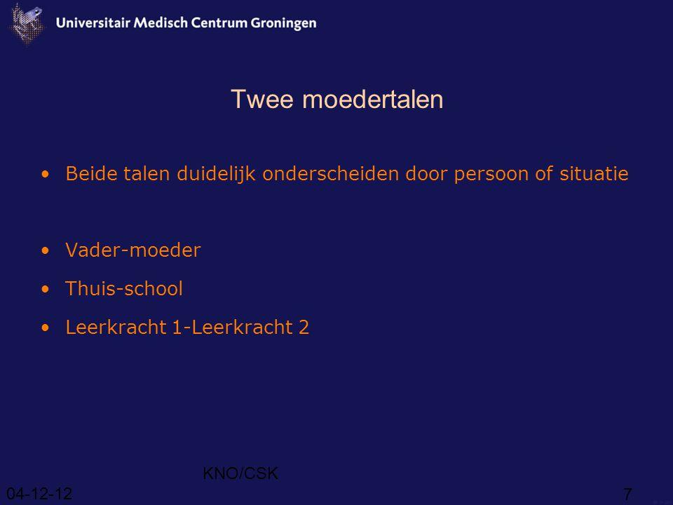 Twee moedertalen Beide talen duidelijk onderscheiden door persoon of situatie. Vader-moeder. Thuis-school.