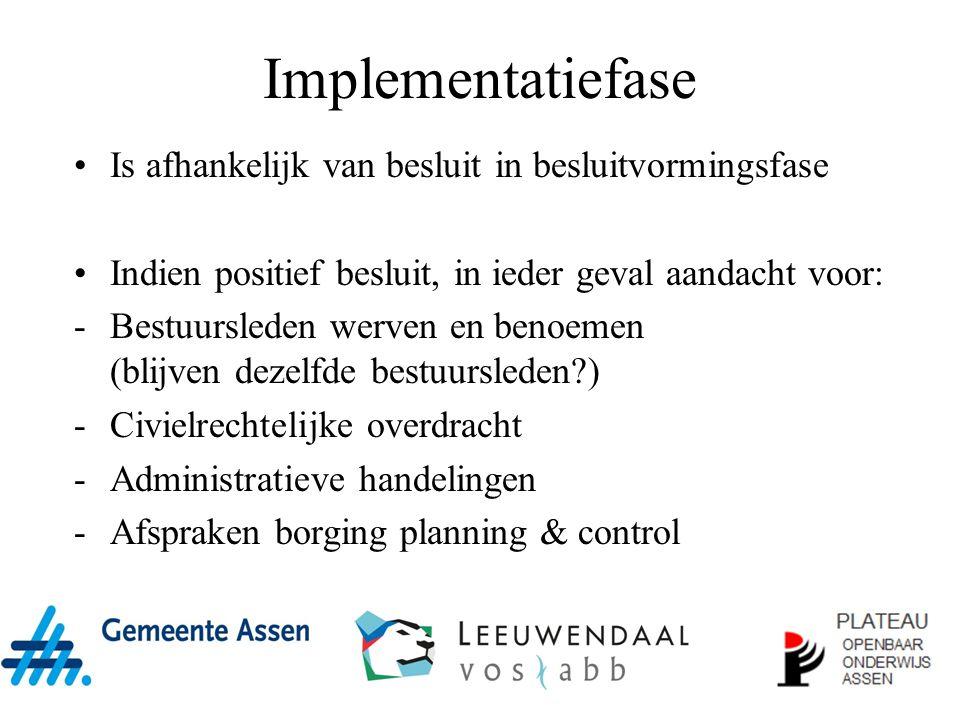 Implementatiefase Is afhankelijk van besluit in besluitvormingsfase