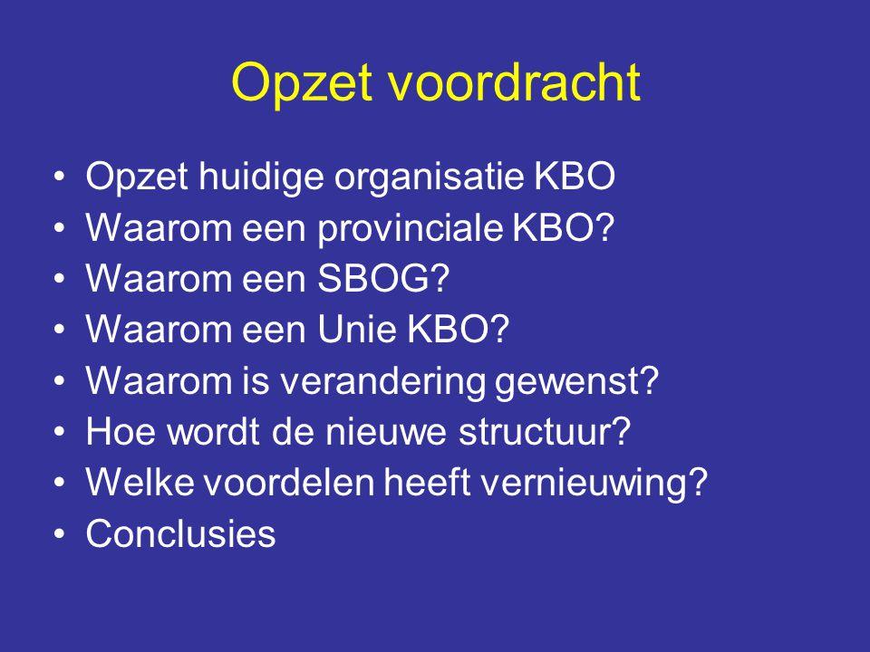 Opzet voordracht Opzet huidige organisatie KBO