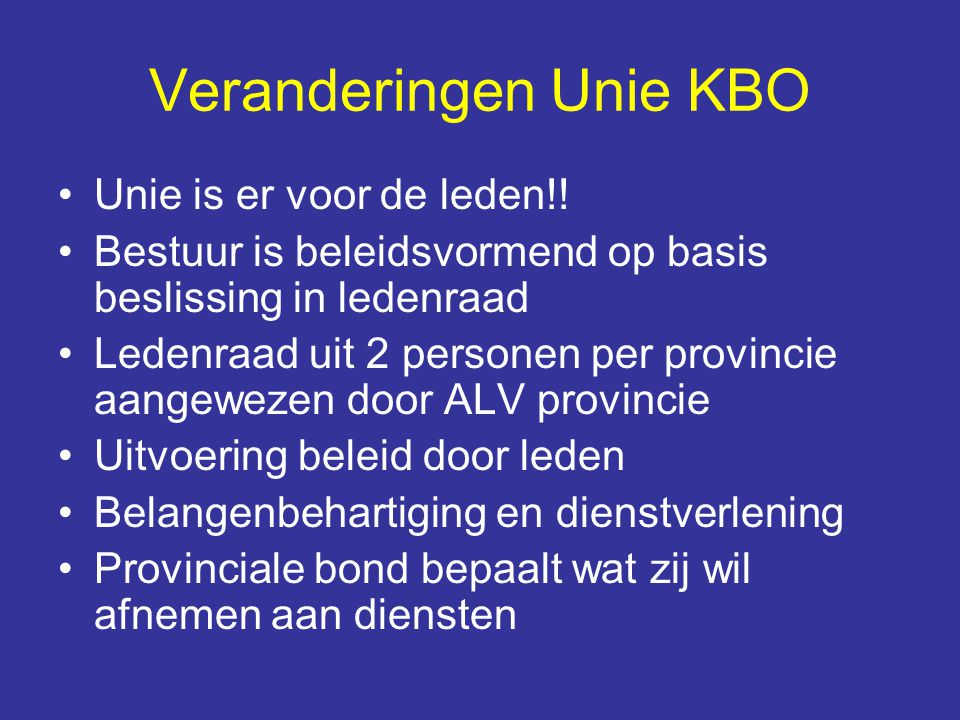 Veranderingen Unie KBO