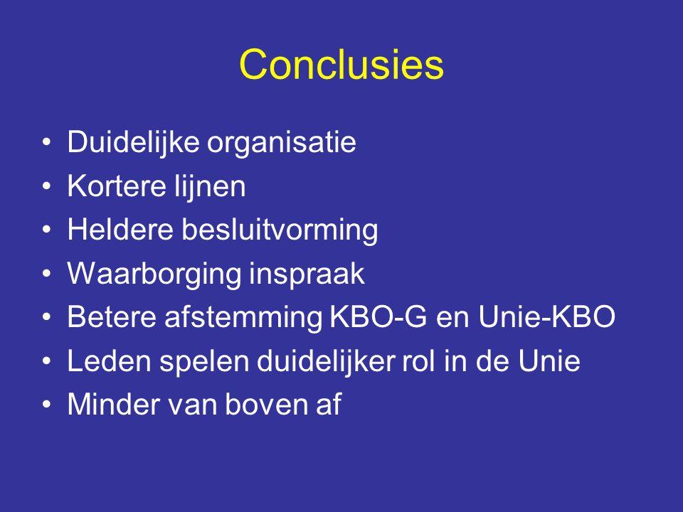 Conclusies Duidelijke organisatie Kortere lijnen