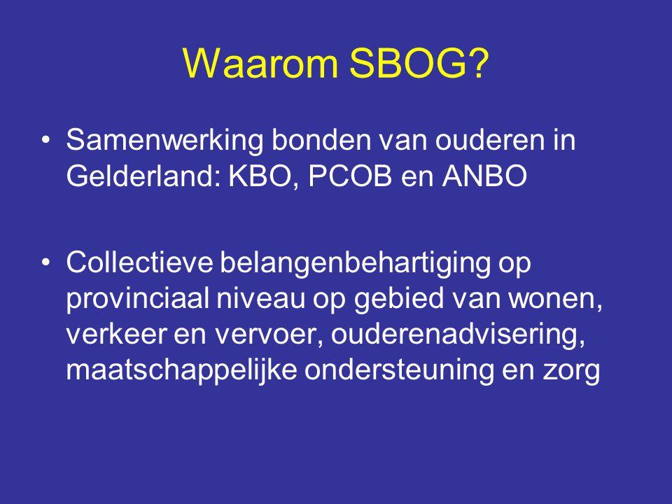 Waarom SBOG Samenwerking bonden van ouderen in Gelderland: KBO, PCOB en ANBO.