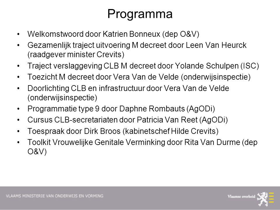 Programma Welkomstwoord door Katrien Bonneux (dep O&V)
