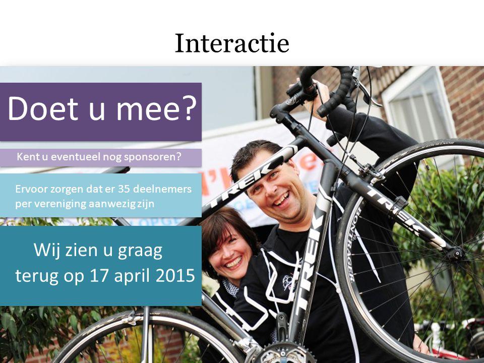 Doet u mee Interactie Wij zien u graag terug op 17 april 2015