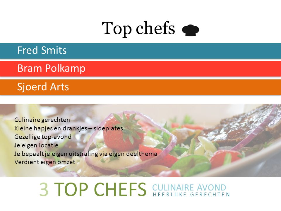 3 TOP CHEFS Top chefs Fred Smits Bram Polkamp Sjoerd Arts