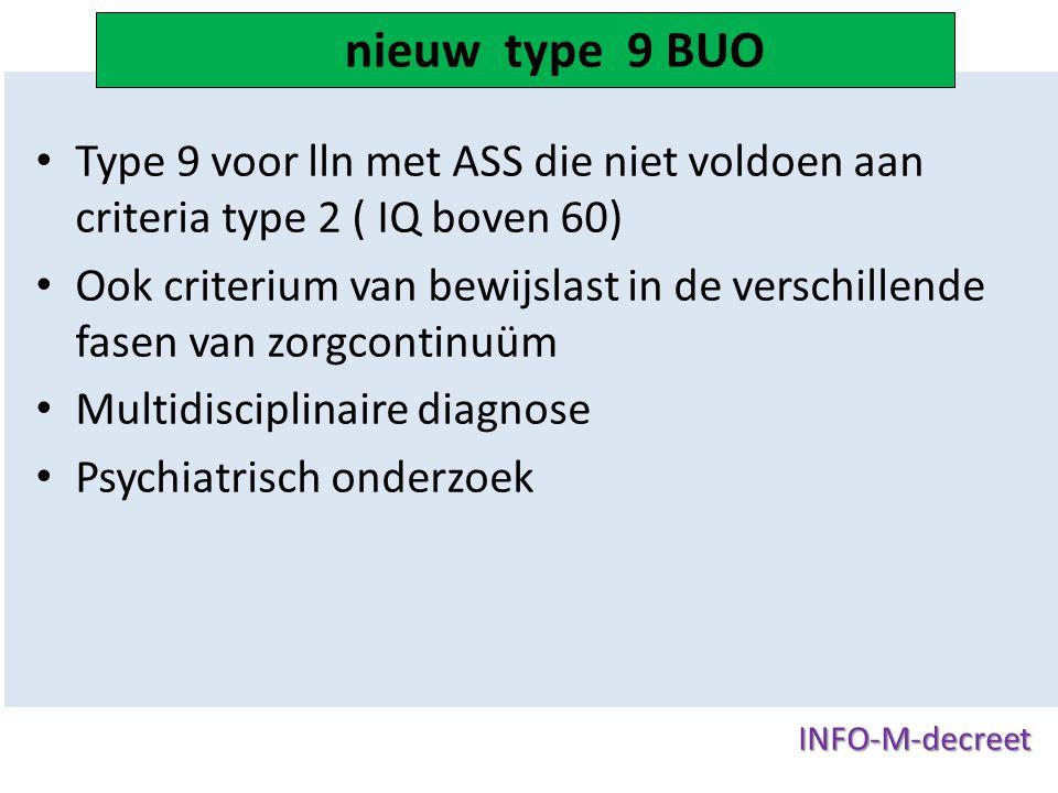 nieuw type 9 BUO Type 9 voor lln met ASS die niet voldoen aan criteria type 2 ( IQ boven 60)