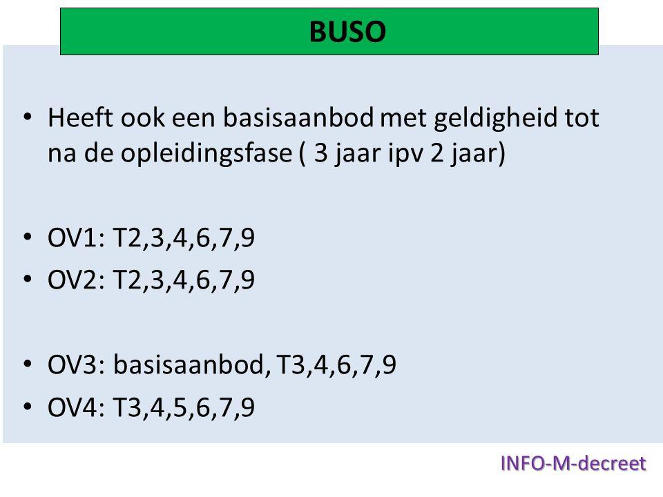 BUSO Heeft ook een basisaanbod met geldigheid tot na de opleidingsfase ( 3 jaar ipv 2 jaar) OV1: T2,3,4,6,7,9.