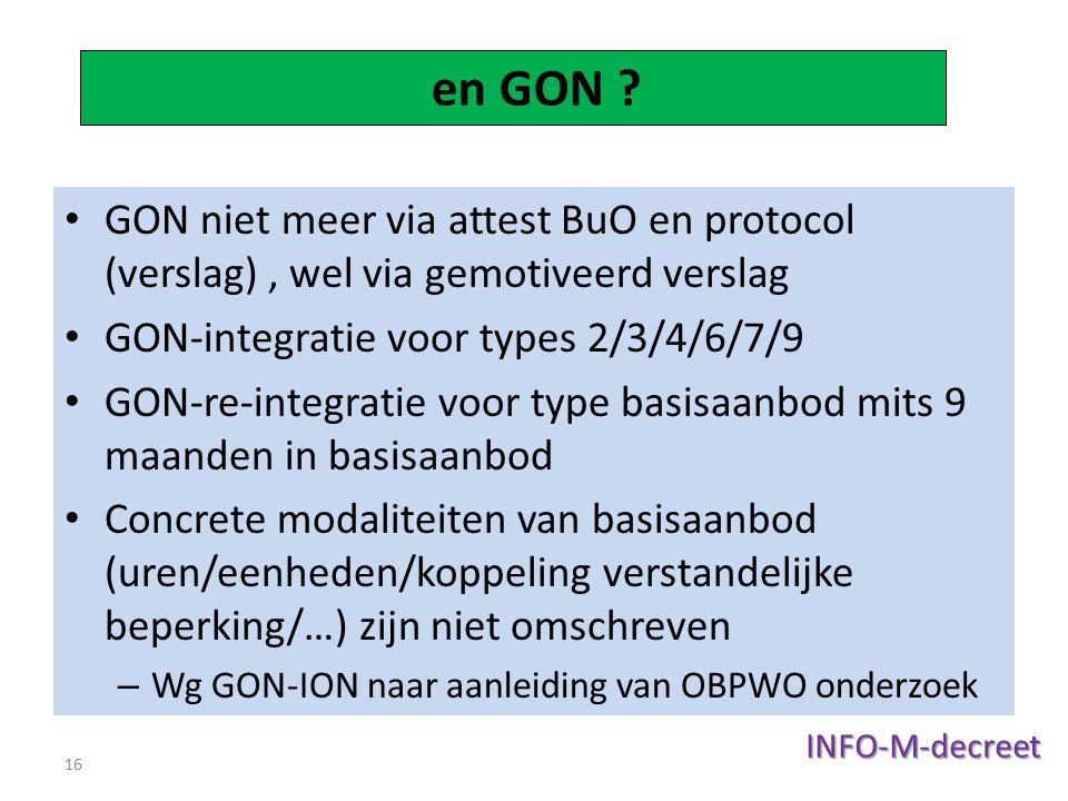 en GON GON niet meer via attest BuO en protocol (verslag) , wel via gemotiveerd verslag. GON-integratie voor types 2/3/4/6/7/9.
