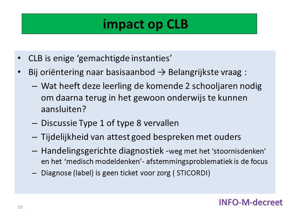 inen voor CLB impact op CLB CLB is enige 'gemachtigde instanties'
