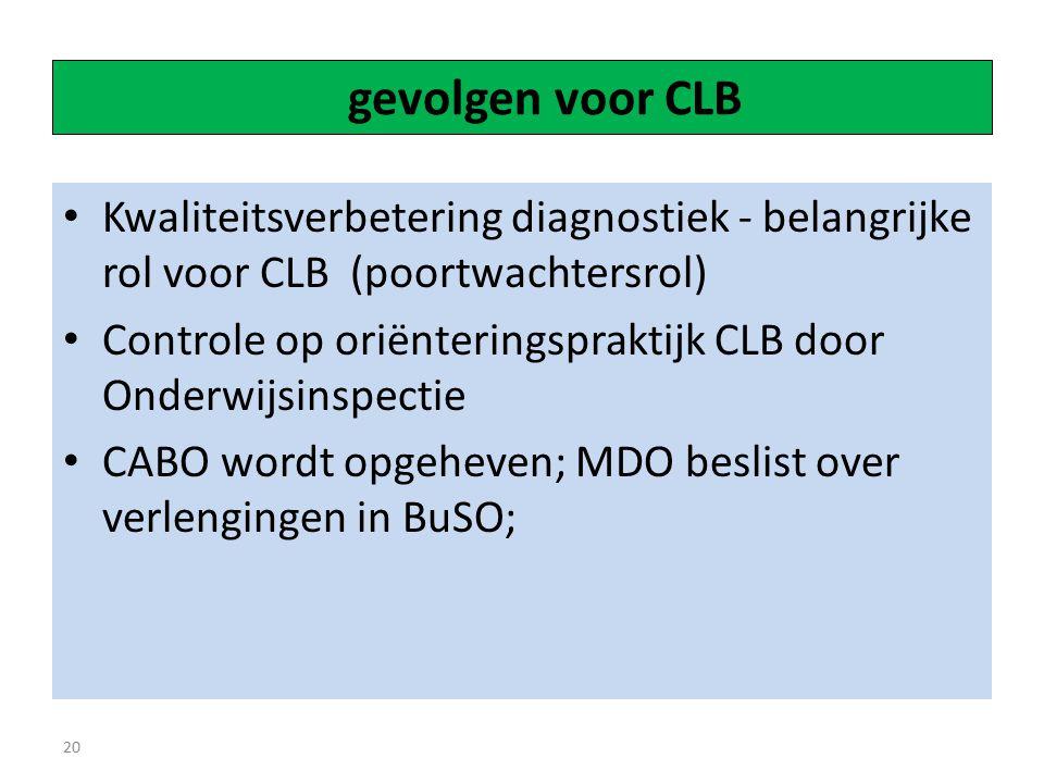 gevolgen voor CLB Kwaliteitsverbetering diagnostiek - belangrijke rol voor CLB (poortwachtersrol)