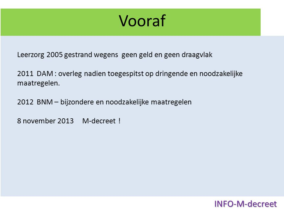 Vooraf INFO-M-decreet