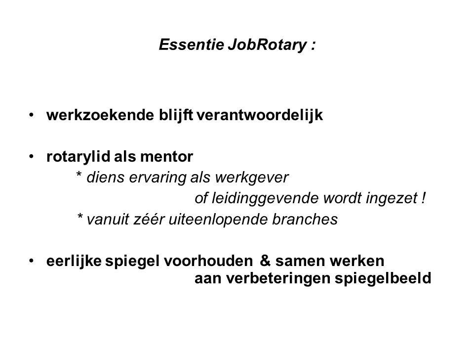Essentie JobRotary : werkzoekende blijft verantwoordelijk. rotarylid als mentor. * diens ervaring als werkgever.