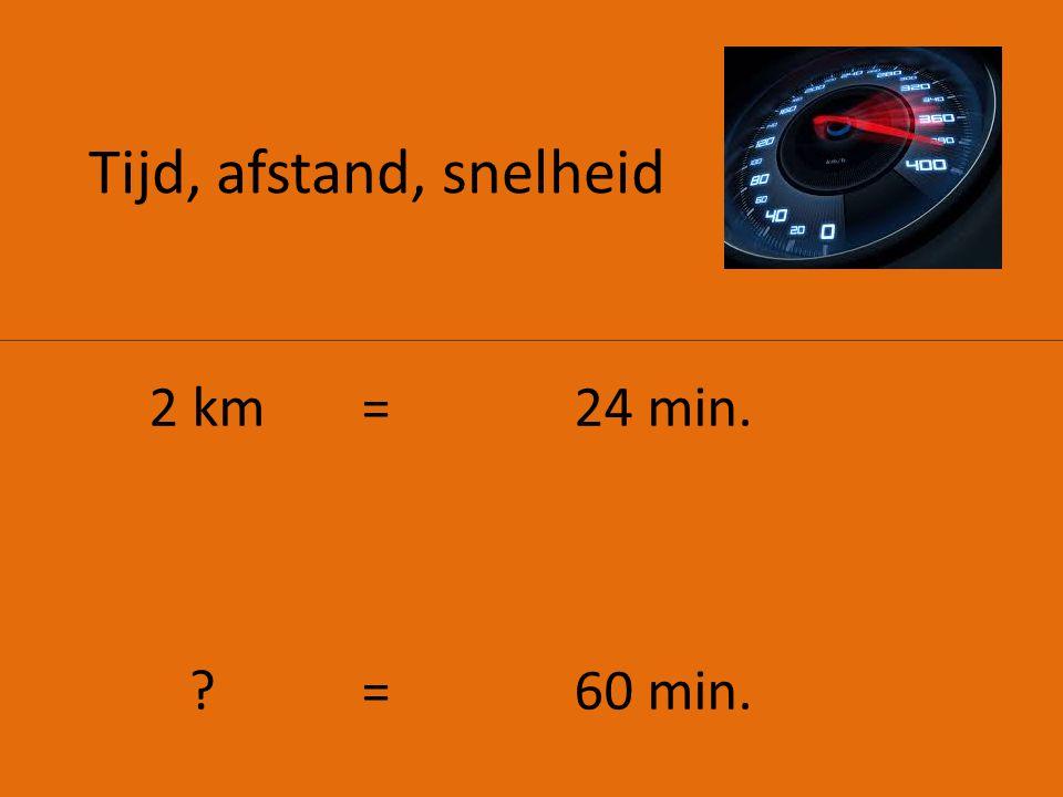 Tijd, afstand, snelheid 2 km = 24 min. = 60 min.