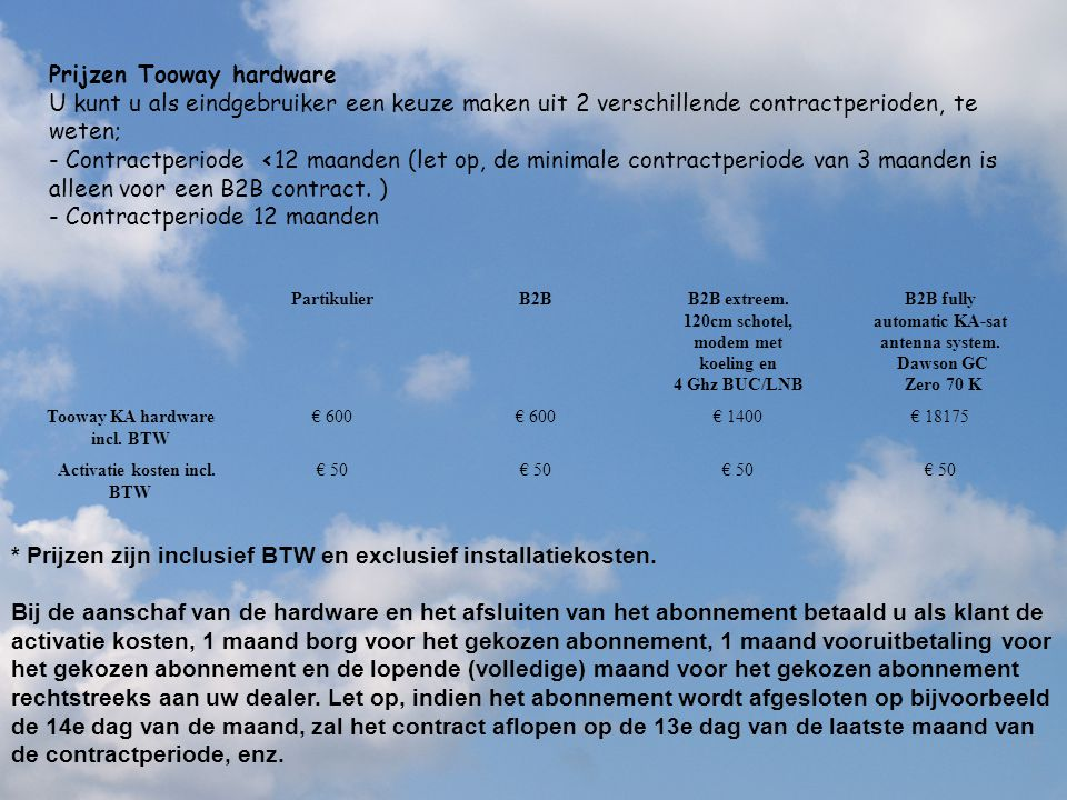 Tooway KA hardware incl. BTW Activatie kosten incl. BTW