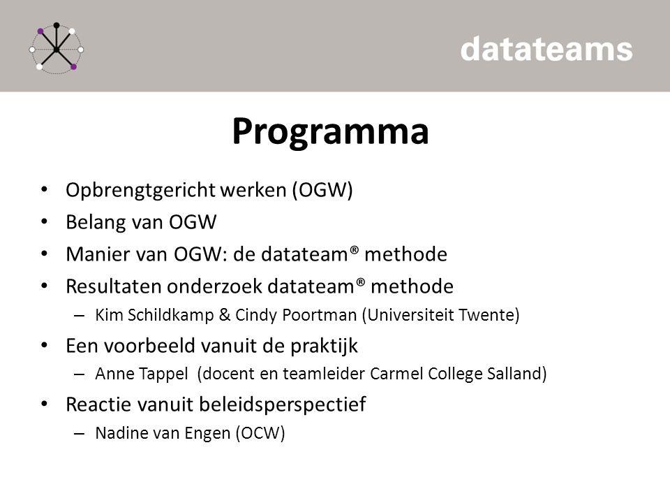 Programma Opbrengtgericht werken (OGW) Belang van OGW