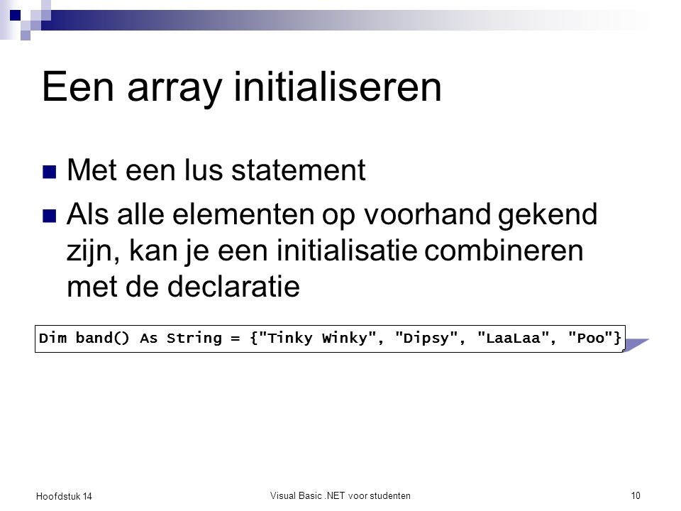 Een array initialiseren