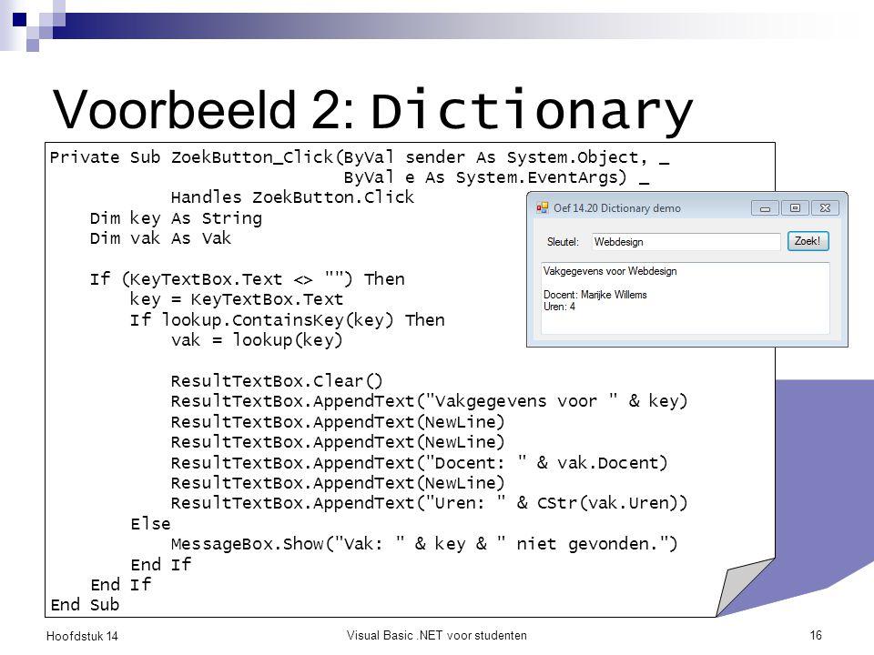 Voorbeeld 2: Dictionary