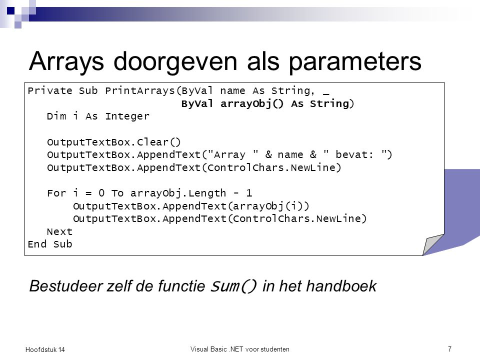 Arrays doorgeven als parameters