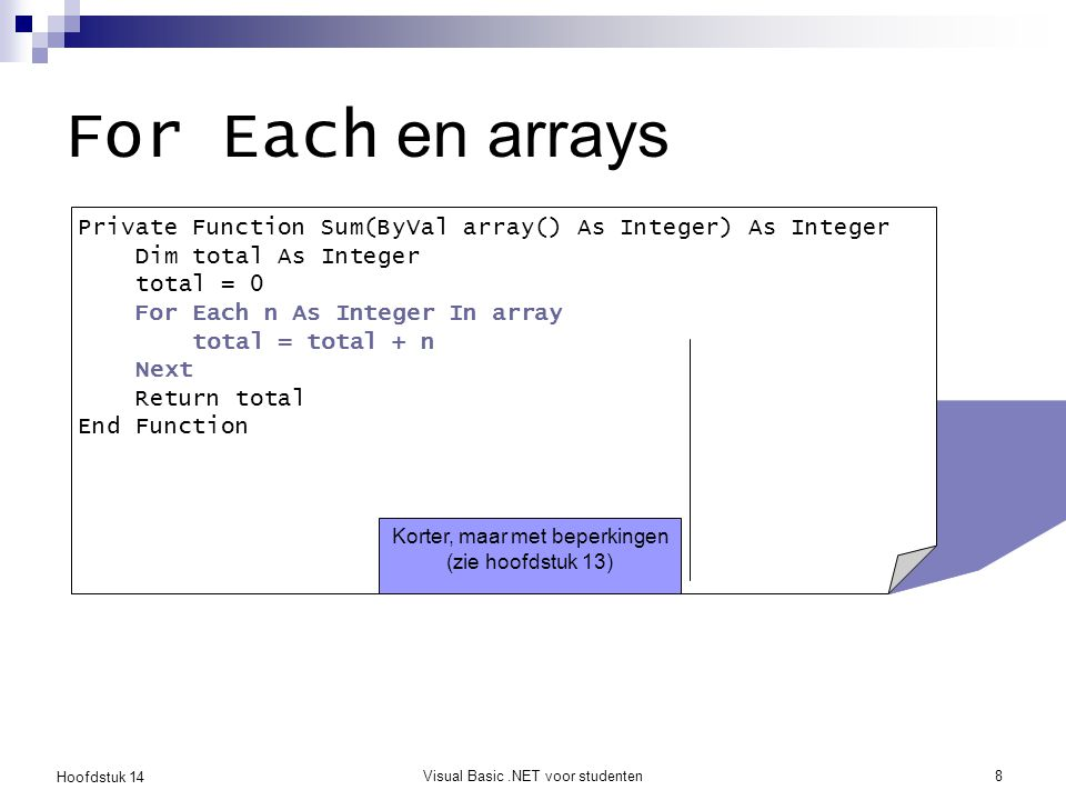 For Each en arrays Private Function Sum(ByVal array() As Integer) As Integer. Dim total As Integer.