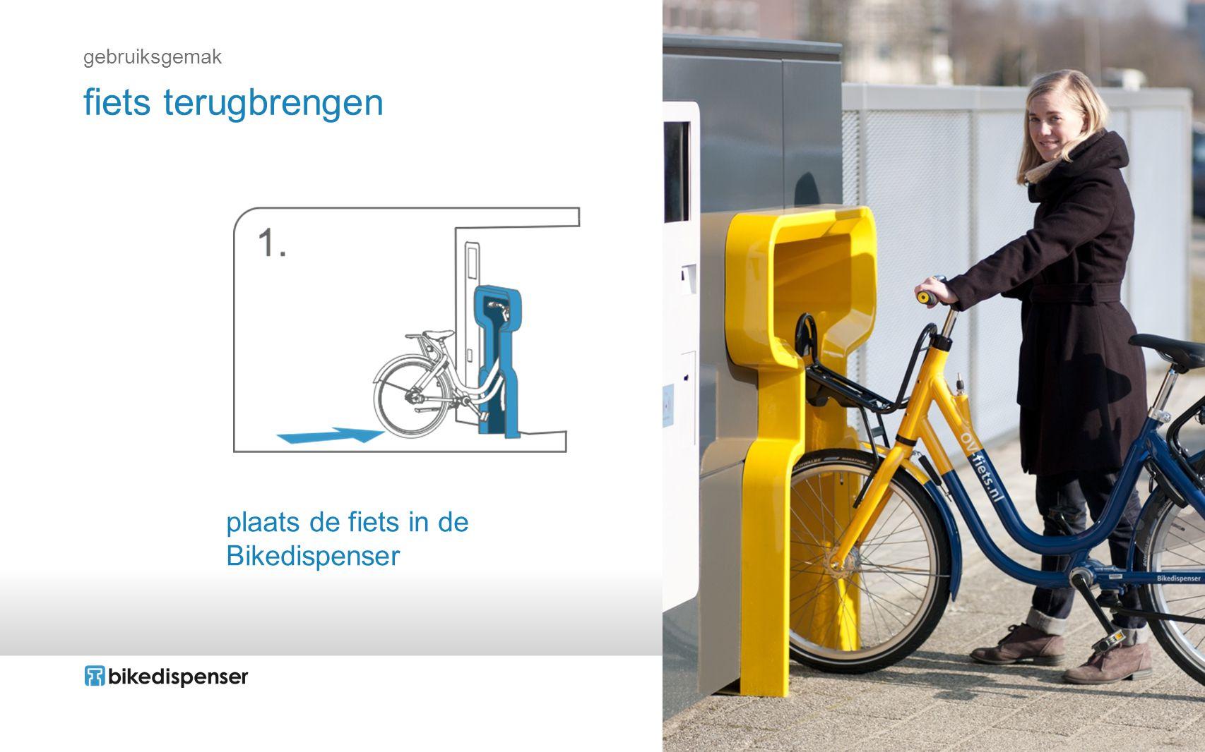 gebruiksgemak fiets terugbrengen plaats de fiets in de Bikedispenser