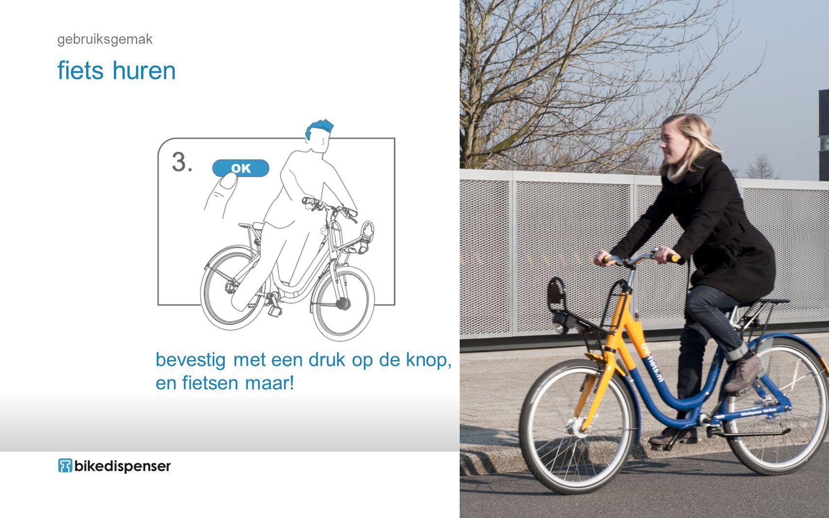 fiets huren bevestig met een druk op de knop, en fietsen maar!