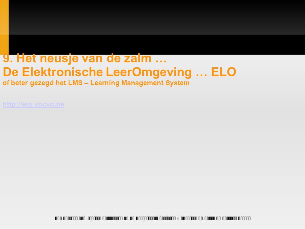 De Elektronische LeerOmgeving … ELO