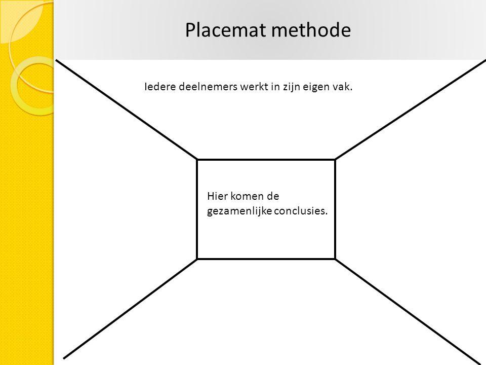 Placemat methode Iedere deelnemers werkt in zijn eigen vak.