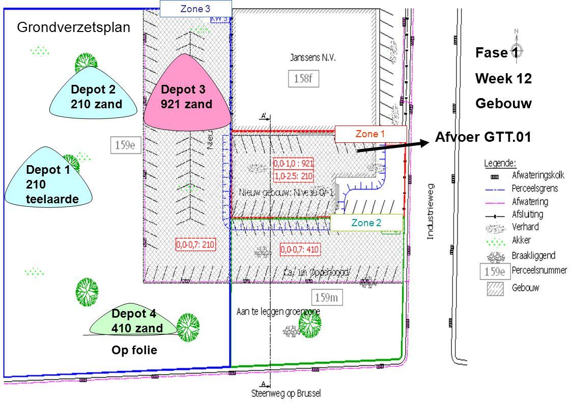 Grondverzetsplan Fase 1 Week 12 Gebouw Afvoer GTT.01 Depot 2 210 zand