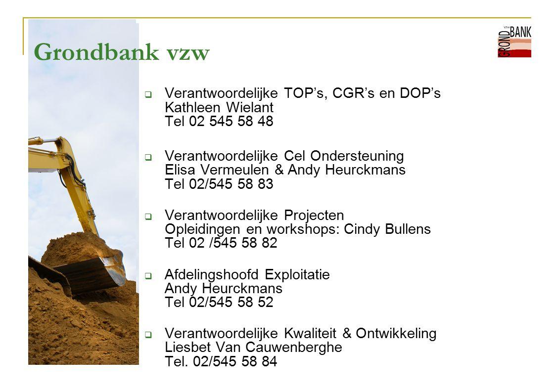 Grondbank vzw Verantwoordelijke TOP's, CGR's en DOP's Kathleen Wielant Tel 02 545 58 48.