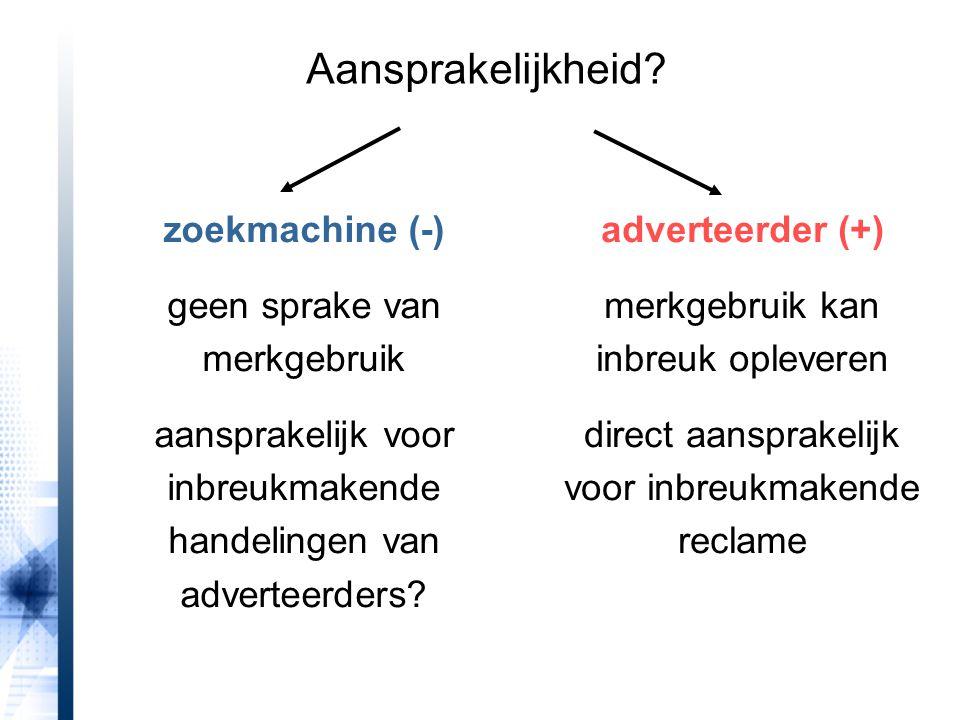 Aansprakelijkheid zoekmachine (-) geen sprake van merkgebruik
