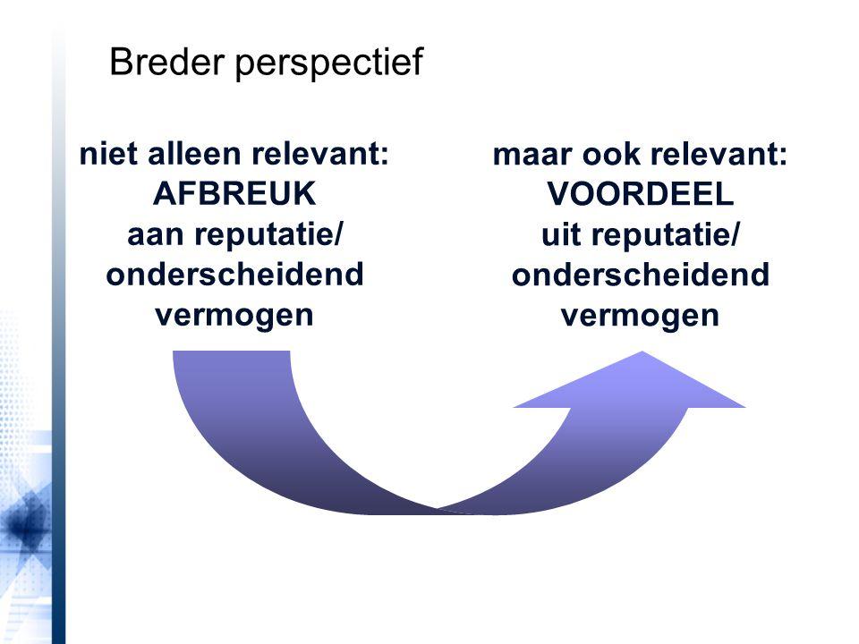 Breder perspectief maar ook relevant: VOORDEEL uit reputatie/ onderscheidend vermogen.