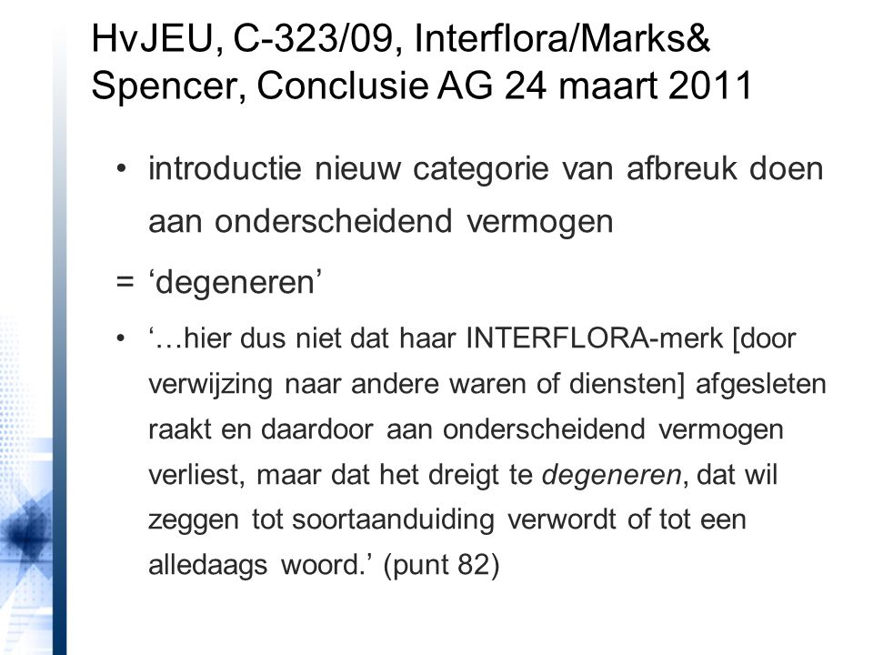 HvJEU, C-323/09, Interflora/Marks& Spencer, Conclusie AG 24 maart 2011