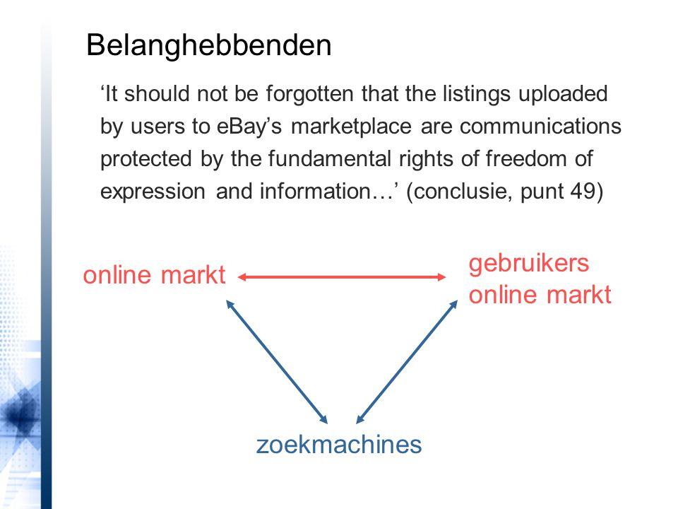 Belanghebbenden gebruikers online markt online markt zoekmachines