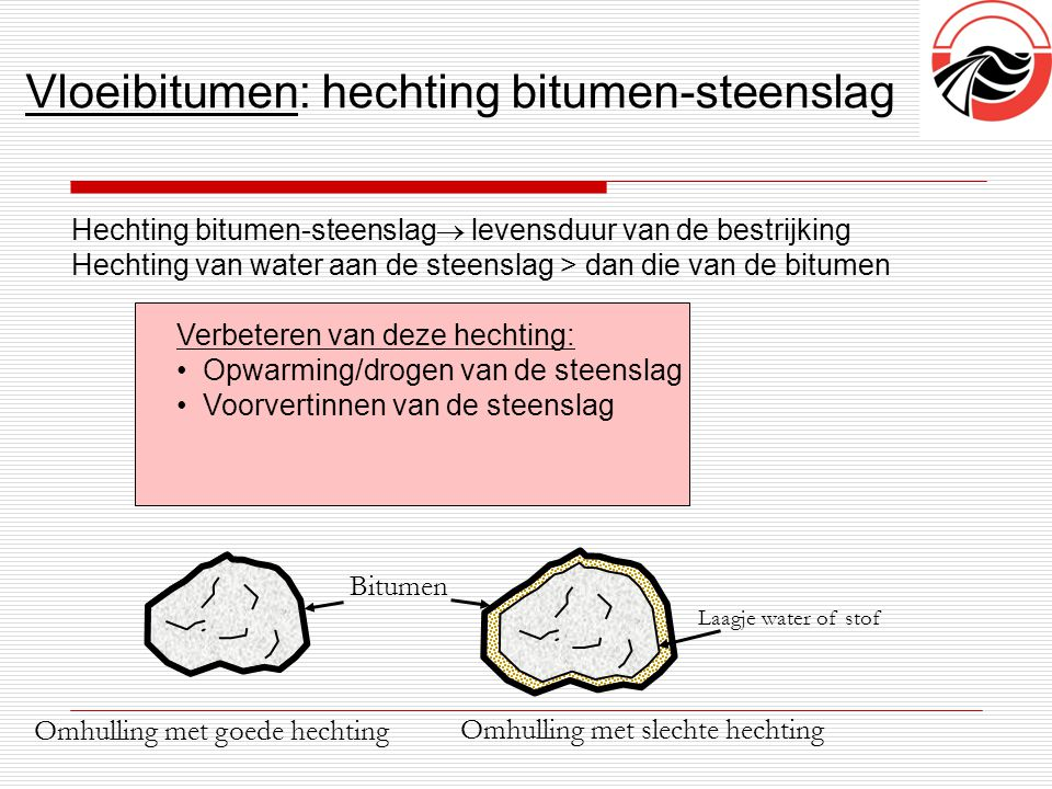 Vloeibitumen: hechting bitumen-steenslag
