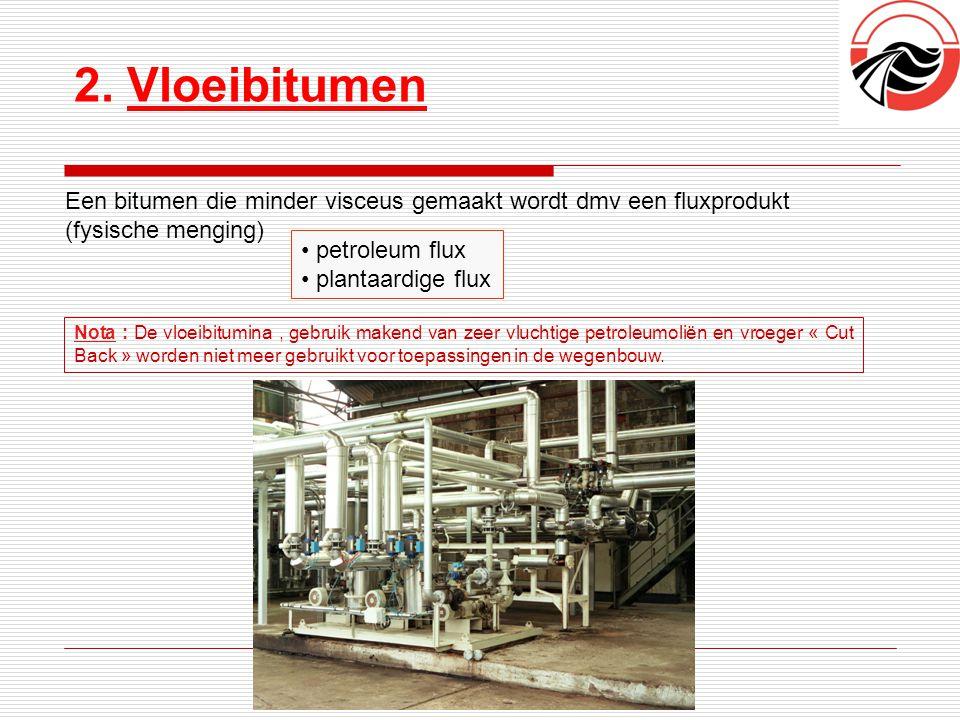 2. Vloeibitumen Een bitumen die minder visceus gemaakt wordt dmv een fluxprodukt. (fysische menging)