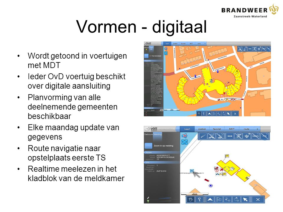 Vormen - digitaal Wordt getoond in voertuigen met MDT