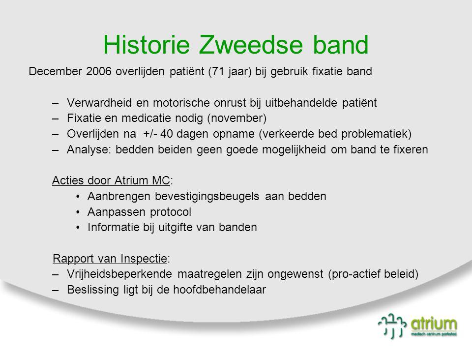 Historie Zweedse band December 2006 overlijden patiënt (71 jaar) bij gebruik fixatie band.