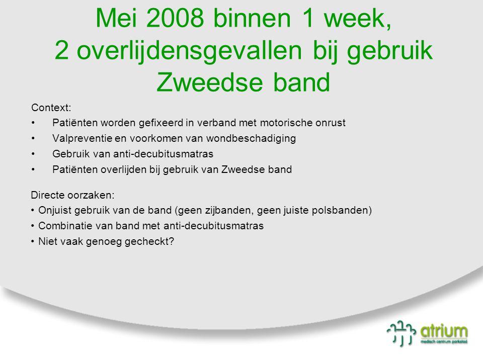 Mei 2008 binnen 1 week, 2 overlijdensgevallen bij gebruik Zweedse band