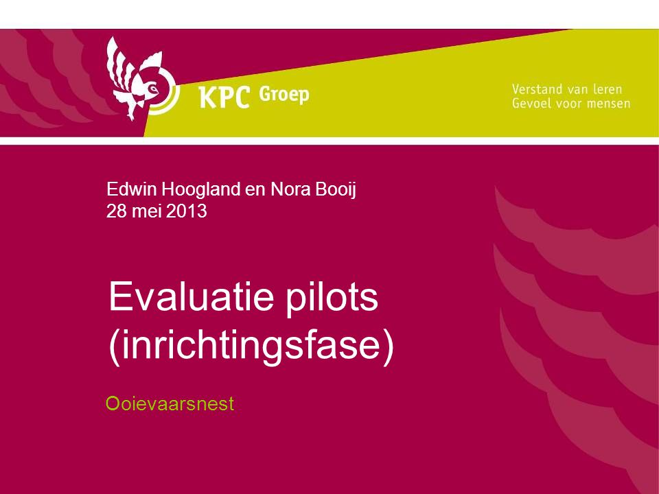Evaluatie pilots (inrichtingsfase)