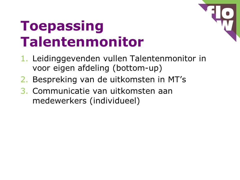 Toepassing Talentenmonitor