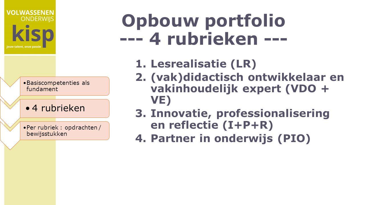Opbouw portfolio --- 4 rubrieken ---